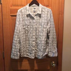 Grey&white checkered flannel, size XL